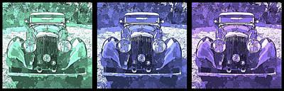 Digital Art - Bentley Blue Pop Art Triple by David King