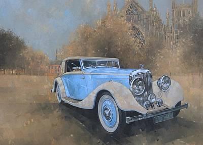 Vintage Automobile Painting - Bentley By Kellner by Peter Miller