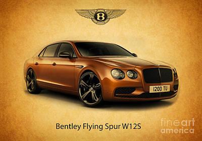 Digital Art - Bentley Flying Spur W12 S1 by Mohamed Elkhamisy