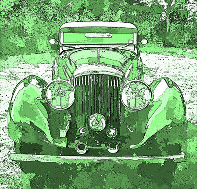 Digital Art - Bentley Green Pop Art P2 by David King