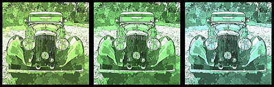 Digital Art - Bentley Green Pop Art Triple by David King