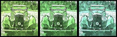 Digital Art - Bentley Green Pop Art Triple by David King