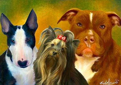 Painting - Bentley, Phoebe And Sunday by Becky Herrera