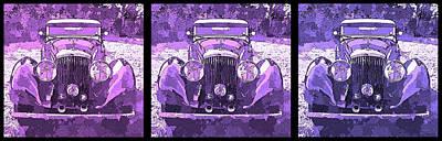 Digital Art - Bentley Purple Pop Art Triple by David King