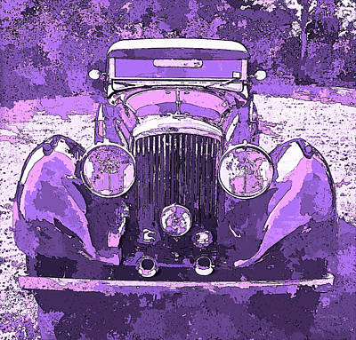 Digital Art - Bentley Violet Pop Art P2 by David King