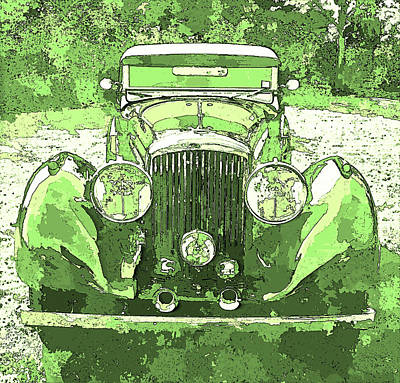 Digital Art - Bentley Yellow Green Pop Art P1 by David King