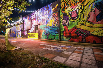 Comics Royalty-Free and Rights-Managed Images - Bentonville Alley Comic Mural by Gregory Ballos
