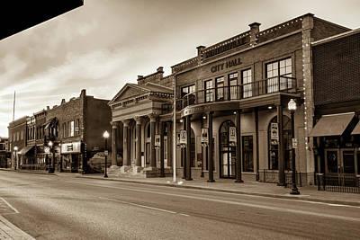 Photograph - Bentonville Arkansas Central Avenue Skyline In Sepia by Gregory Ballos