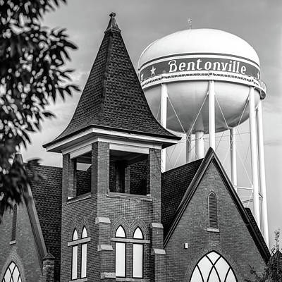 Print featuring the photograph Bentonville Arkansas Cityscape Church Water Tower - Black And White by Gregory Ballos