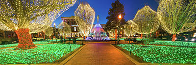 Photograph - Bentonville Arkansas Downtown Square Christmas Lights Panorama by Gregory Ballos