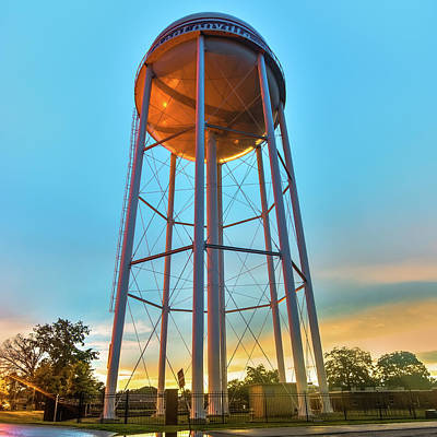 Photograph - Bentonville Arkansas Downtown Water Tower At Sunset - Square Format by Gregory Ballos