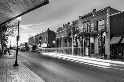City Scenes Photograph - Bentonville Arkansas Skyline Sunrise - Black And White by Gregory Ballos
