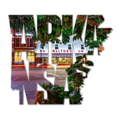 Photograph - Bentonville Arkansas - State Shape Series - Typography - A Night On The Bentonville Square by Gregory Ballos