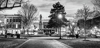 Photograph - Bentonville Arkansas Town Square Panoramic - Black And White by Gregory Ballos
