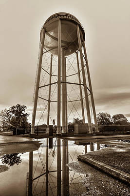 Photograph - Bentonville Arkansas Water Tower After Rain - Sepia by Gregory Ballos