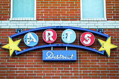 Photograph - Bentonville Arts District Neon Sign by Gregory Ballos