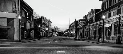 Photograph - Bentonville City Downtown Skyline Panorama - Arkansas Black And White by Gregory Ballos