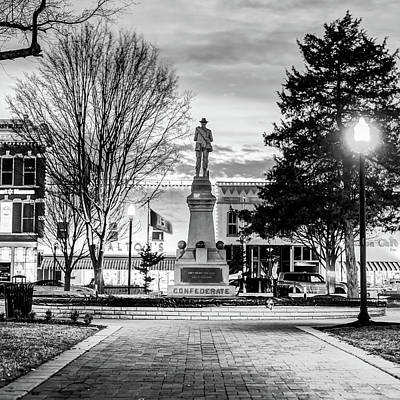 Photograph - Bentonville Confederate Statue - Black And White Square Format by Gregory Ballos