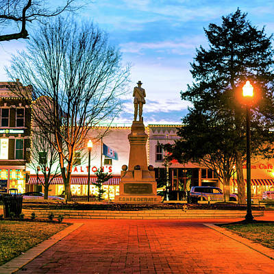 Photograph - Bentonville Confederate Statue - Square Format by Gregory Ballos