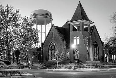 Photograph - Bentonville Historical Church And Water Tower - Black And White by Gregory Ballos