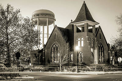 Photograph - Bentonville Historical Church And Water Tower - Sepia by Gregory Ballos