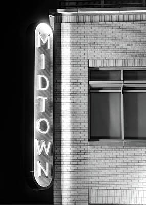 Photograph - Bentonville Midtown Vintage Neon Black And White - Northwest Arkansas by Gregory Ballos