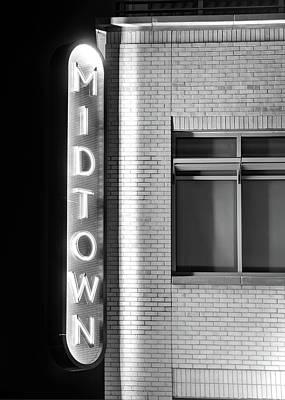 Photograph - Bentonville Midtown Vintage Neon Black And White - Northwest Arkansas by Gregory Ballos