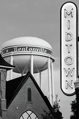 Photograph - Bentonville Neon Midtown Sign And Water Tower - Black And White Edition by Gregory Ballos