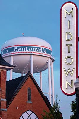 Photograph - Bentonville Neon Midtown Sign And Water Tower - Color Edition by Gregory Ballos