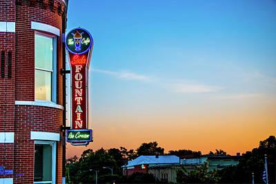 Photograph - Bentonville Old Time Soda Fountain Neon At Dawn by Gregory Ballos