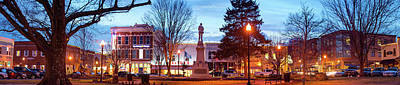Photograph - Bentonville Square Fountain And Skyline Panoramic  by Gregory Ballos