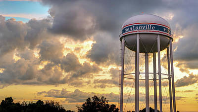 Photograph - Bentonville Sunset Over The City Water Tower by Gregory Ballos