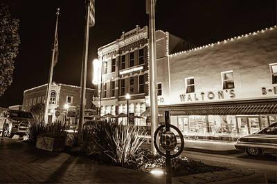 Photograph - Bentonville Town Square - Sepia by Gregory Ballos