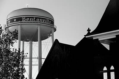 Photograph - Bentonville Water Tower And Church Silhouette - Black And White by Gregory Ballos