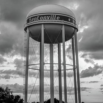 Photograph - Bentonville Water Tower Sunset Bw - Square Format  by Gregory Ballos