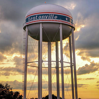 Photograph - Bentonville Water Tower Sunset - Square Format  by Gregory Ballos