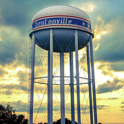 Photograph - Bentonville Water Tower Vintage Sunset - Square Format  by Gregory Ballos