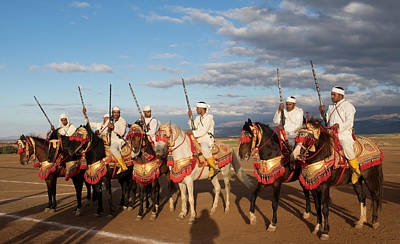Moroccan Photograph - Berber Horsemen Lined by Panoramic Images