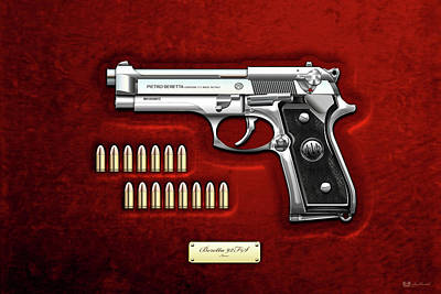 Digital Art - Beretta 92fs Inox With Ammo On Red Velvet  by Serge Averbukh