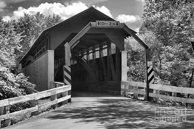 Photograph - Berford Herline Covered Bridge Black And White by Adam Jewell