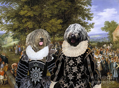 Painting - Bergamasco Shepherd Dog Art Canvas Print - Wedding Party, Chaired By Archdukes by Sandra Sij