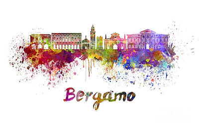 Bergamo Painting - Bergamo Skyline In Watercolor by Pablo Romero