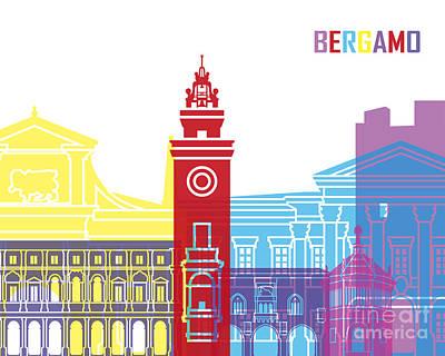Bergamo Painting - Bergamo Skyline Pop by Pablo Romero