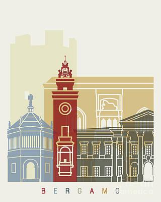 Bergamo Painting - Bergamo Skyline Poster by Pablo Romero
