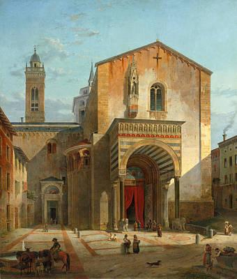 Bergamo Painting - Bergamo The South Entrance Of The Church Santa Maria Maggiore by Leo von Klenze