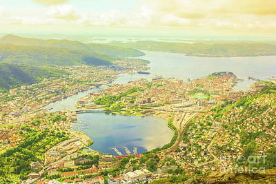 Photograph - Bergen Aerial Norway by Benny Marty