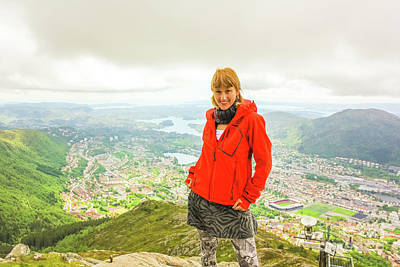 Photograph - Bergen Hiker Woman by Benny Marty