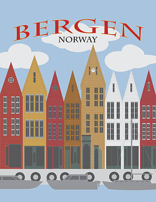 Photograph - Bergen Norway Downtown Waterfront Poster Illustration by Jit Lim