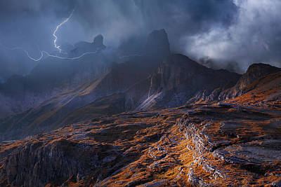 Thunder Photograph - Bergwetter by Franz Schumacher