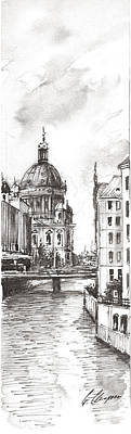 Speer Painting - Berlin Black And White View On The Speer by Georgi Charaka